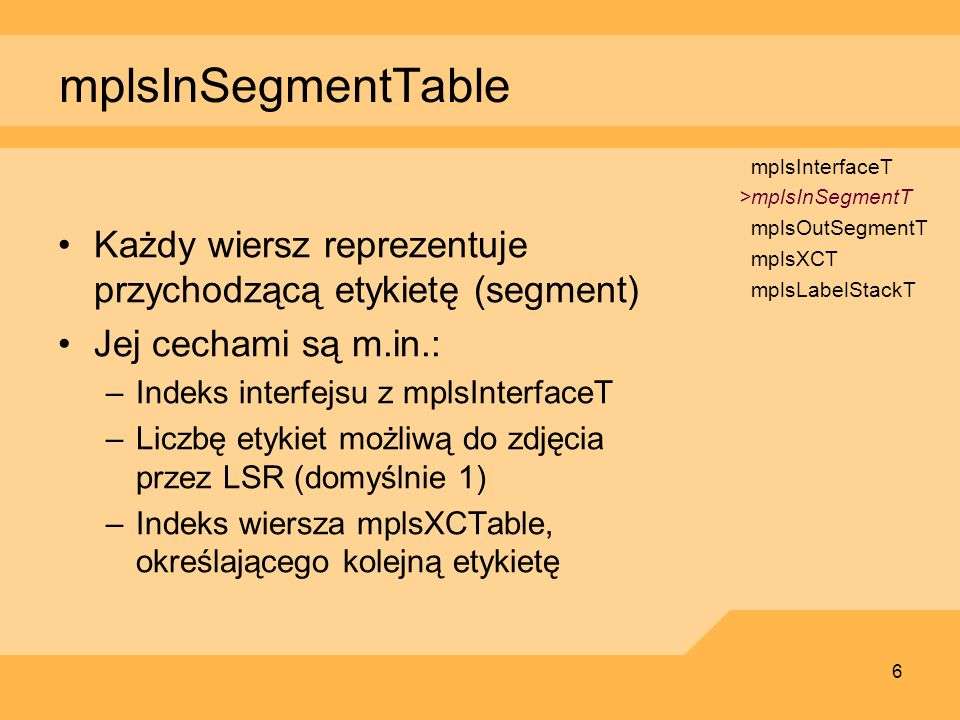 mplsInSegmentTablemplsInterfaceT. >mplsInSegmentT. mplsOutSegmentT. mplsXCT. mplsLabelStackT.