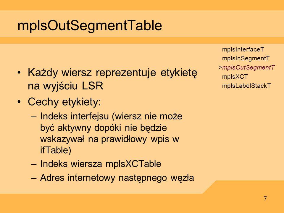 mplsOutSegmentTable Każdy wiersz reprezentuje etykietę na wyjściu LSR