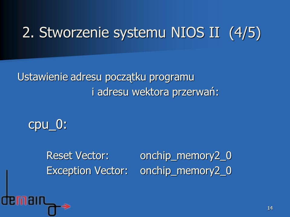 2. Stworzenie systemu NIOS II (4/5)