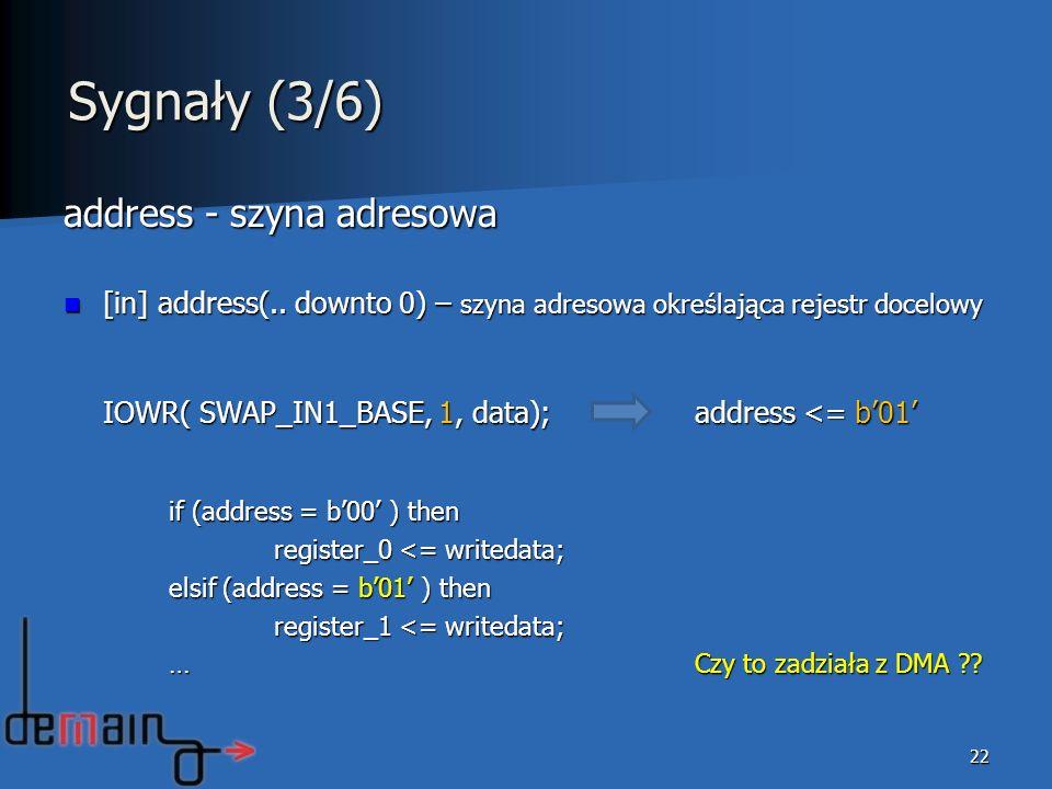 Sygnały (3/6) address - szyna adresowa
