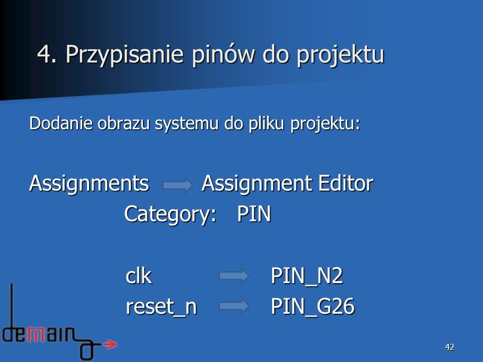 4. Przypisanie pinów do projektu