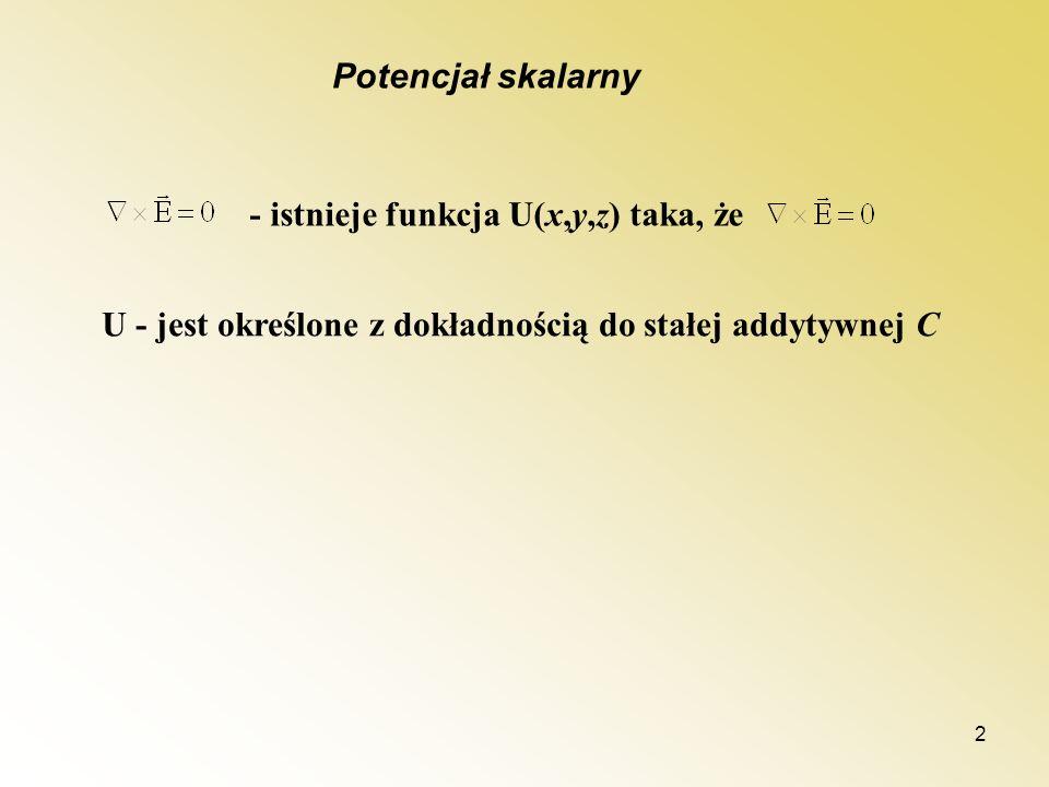 Potencjał skalarny - istnieje funkcja U(x,y,z) taka, że.