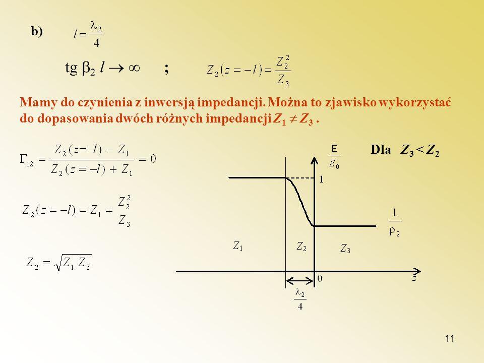 b) tg 2 l  ; Mamy do czynienia z inwersją impedancji. Można to zjawisko wykorzystać do dopasowania dwóch różnych impedancji Z1  Z3 .