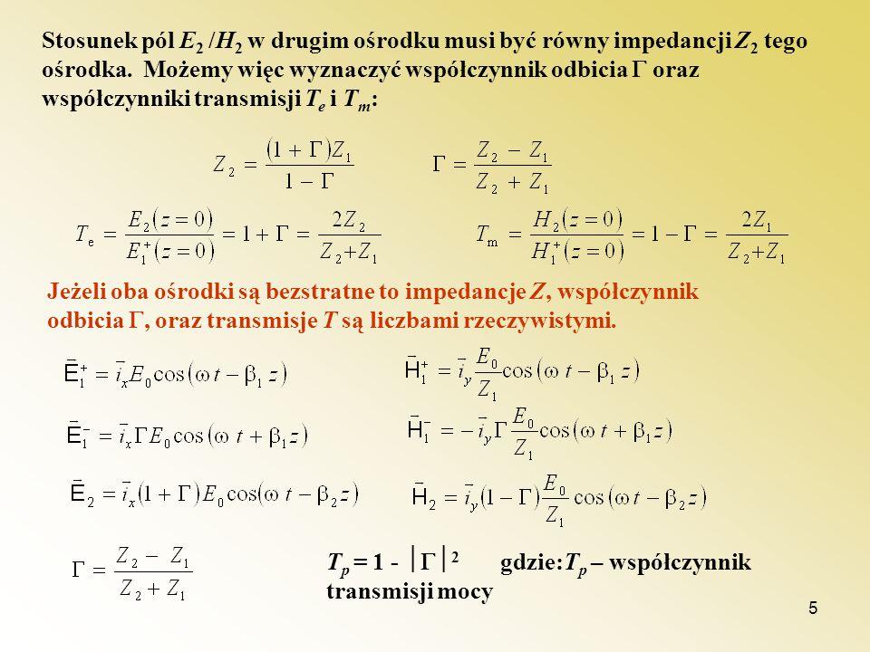 Stosunek pól E2 /H2 w drugim ośrodku musi być równy impedancji Z2 tego ośrodka. Możemy więc wyznaczyć współczynnik odbicia  oraz współczynniki transmisji Te i Tm: