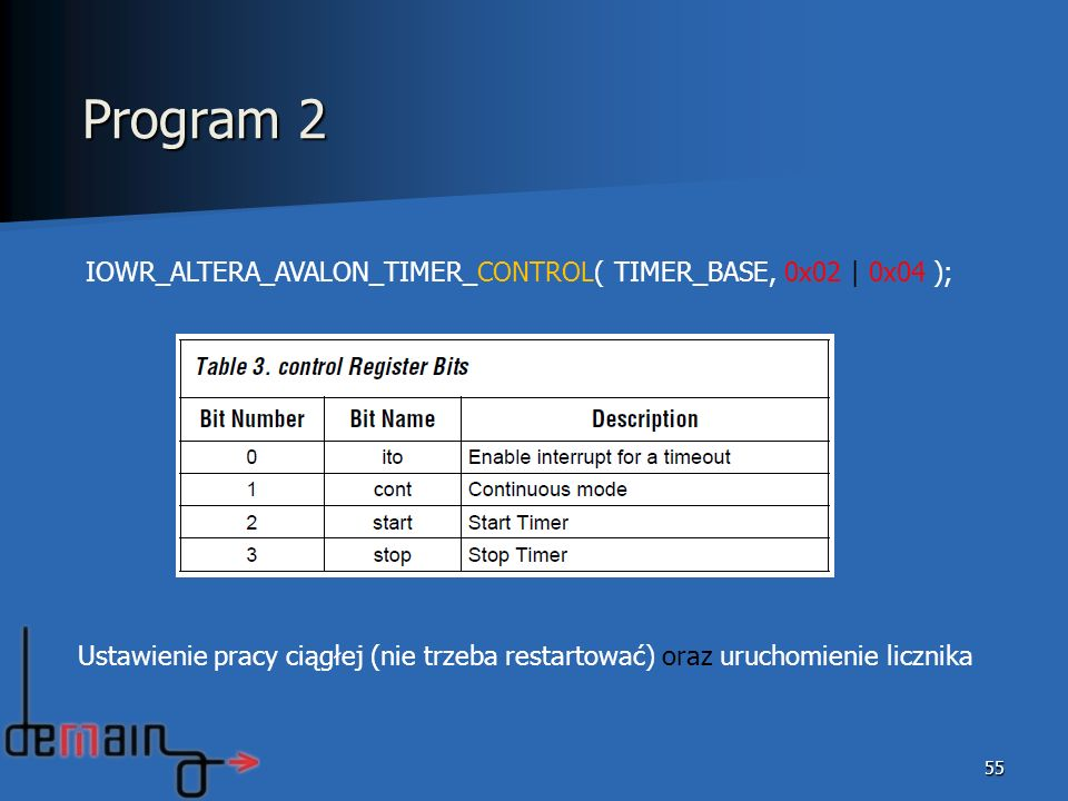 Program 2 IOWR_ALTERA_AVALON_TIMER_CONTROL( TIMER_BASE, 0x02 | 0x04 );