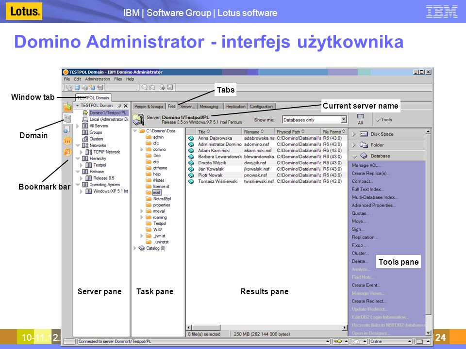 Domino Administrator - interfejs użytkownika