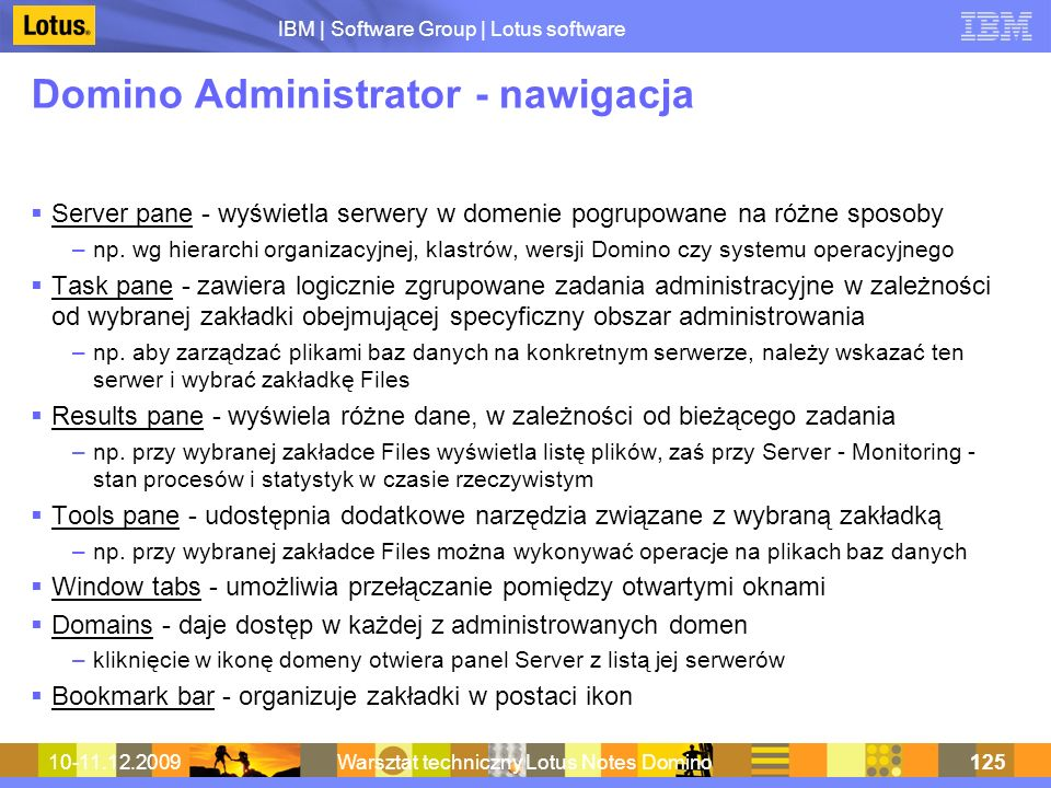 Domino Administrator - nawigacja