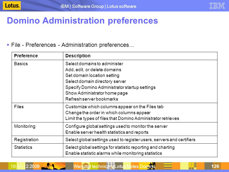 Domino Administration preferences