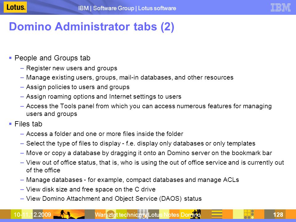 Domino Administrator tabs (2)