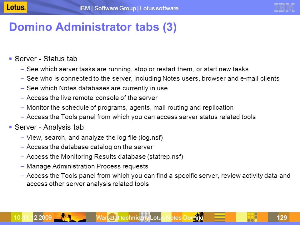 Domino Administrator tabs (3)