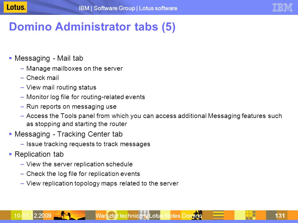 Domino Administrator tabs (5)