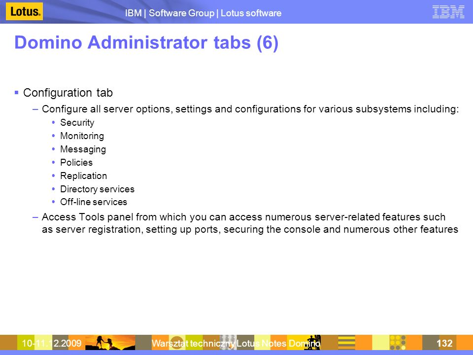 Domino Administrator tabs (6)