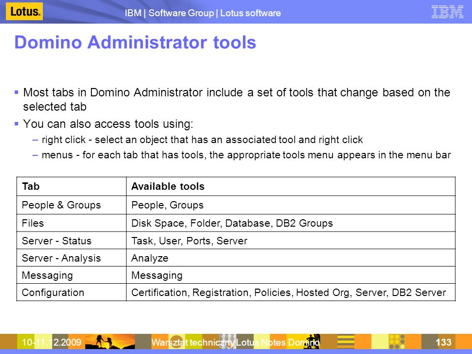Domino Administrator tools