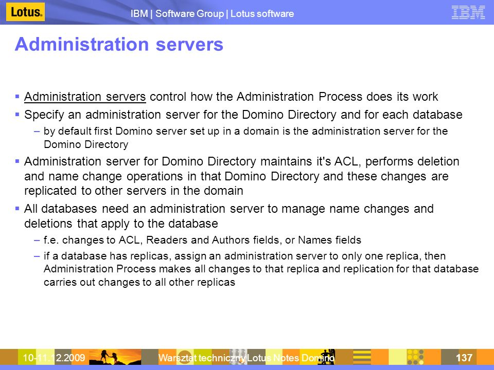 Administration servers