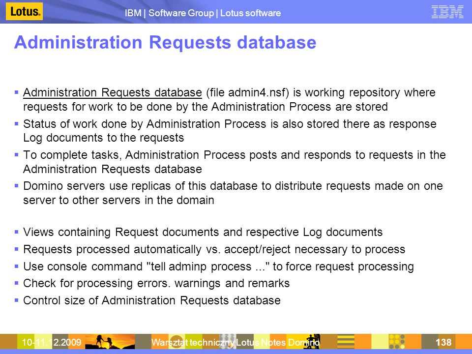 Administration Requests database