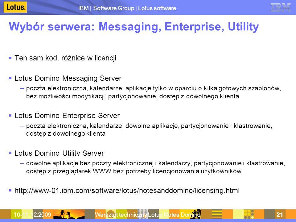Wybór serwera: Messaging, Enterprise, Utility