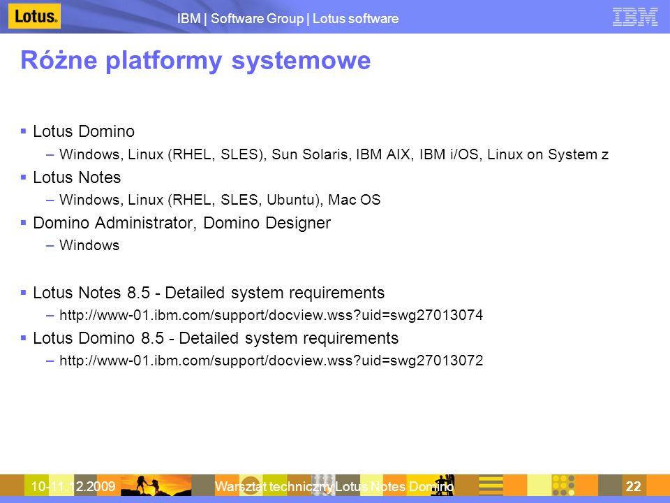 Różne platformy systemowe