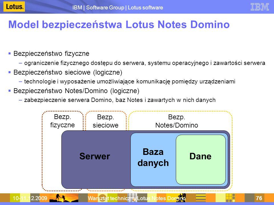 Model bezpieczeństwa Lotus Notes Domino