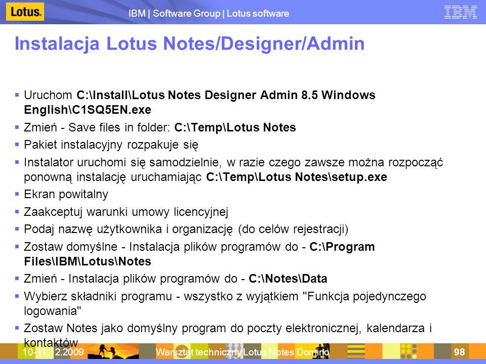 Instalacja Lotus Notes/Designer/Admin