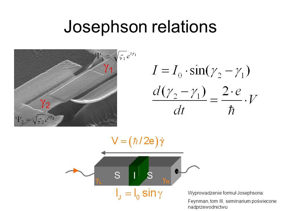 Josephson relations g1 g2 S I Wyprowadzenie formuł Josephsona: