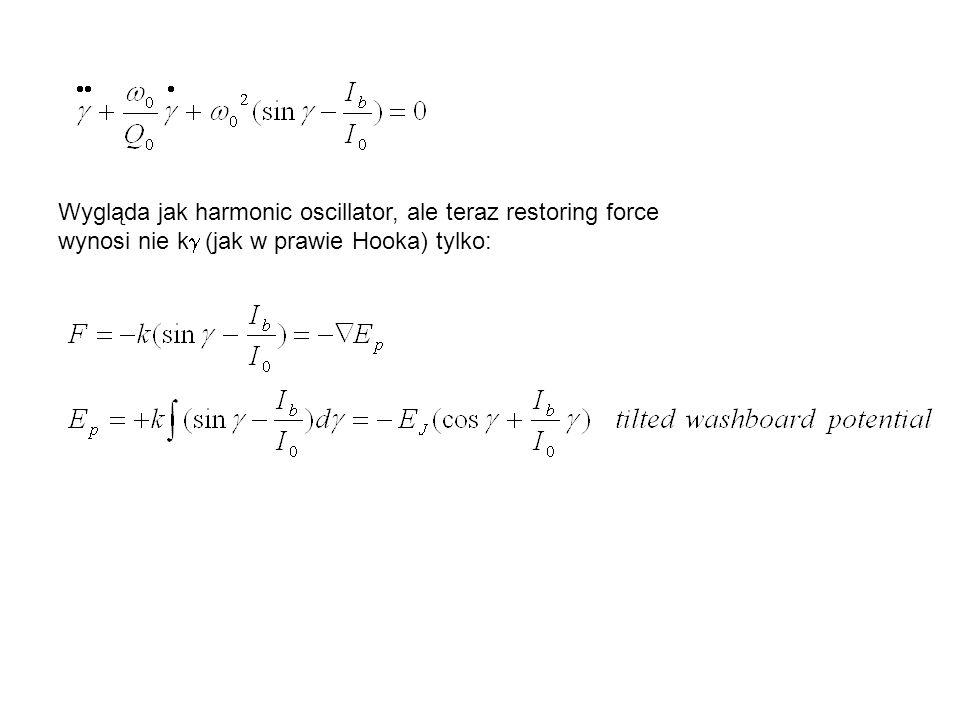 Wygląda jak harmonic oscillator, ale teraz restoring force wynosi nie kg (jak w prawie Hooka) tylko: