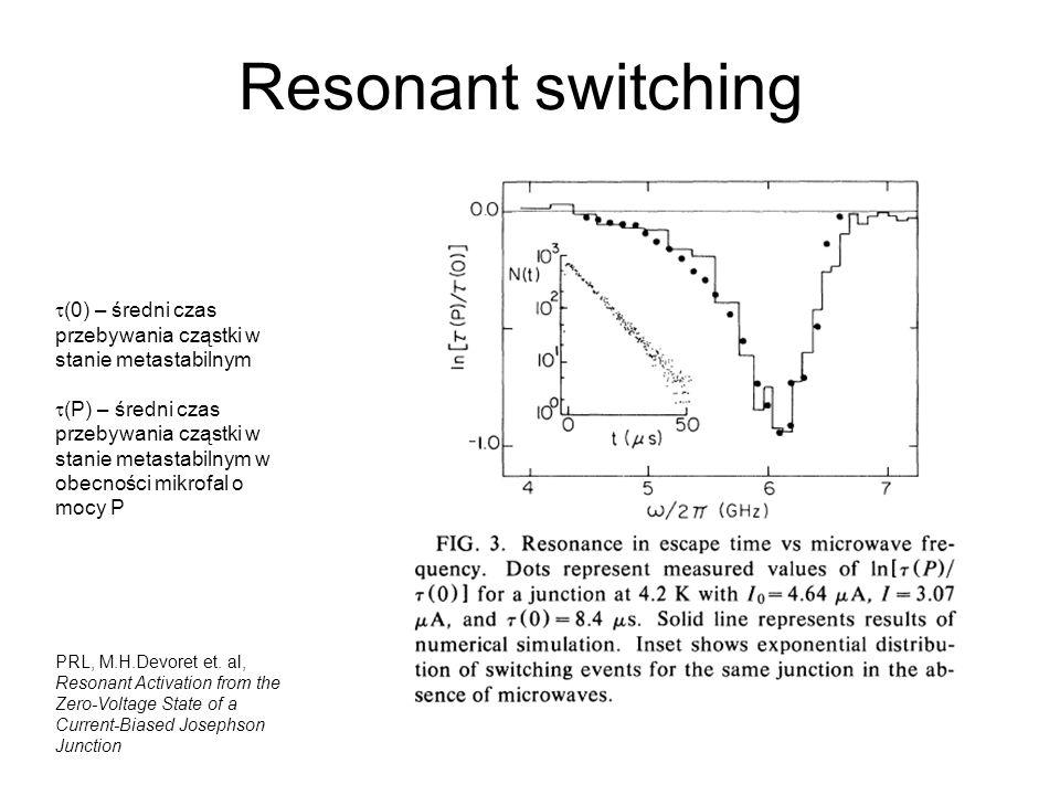 Resonant switching t(0) – średni czas przebywania cząstki w stanie metastabilnym.