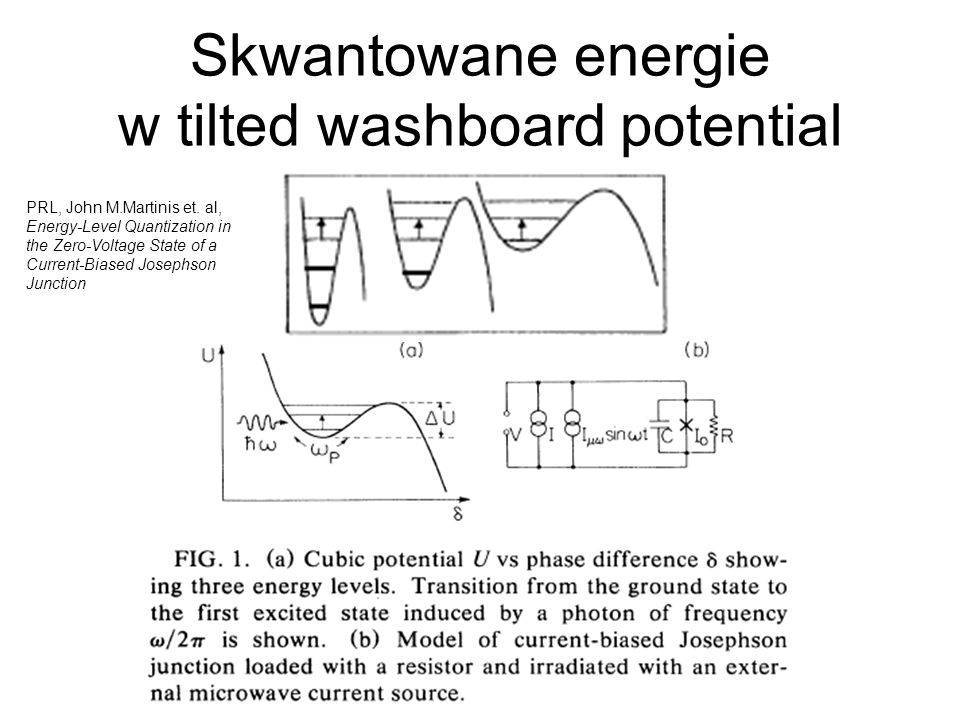 Skwantowane energie w tilted washboard potential