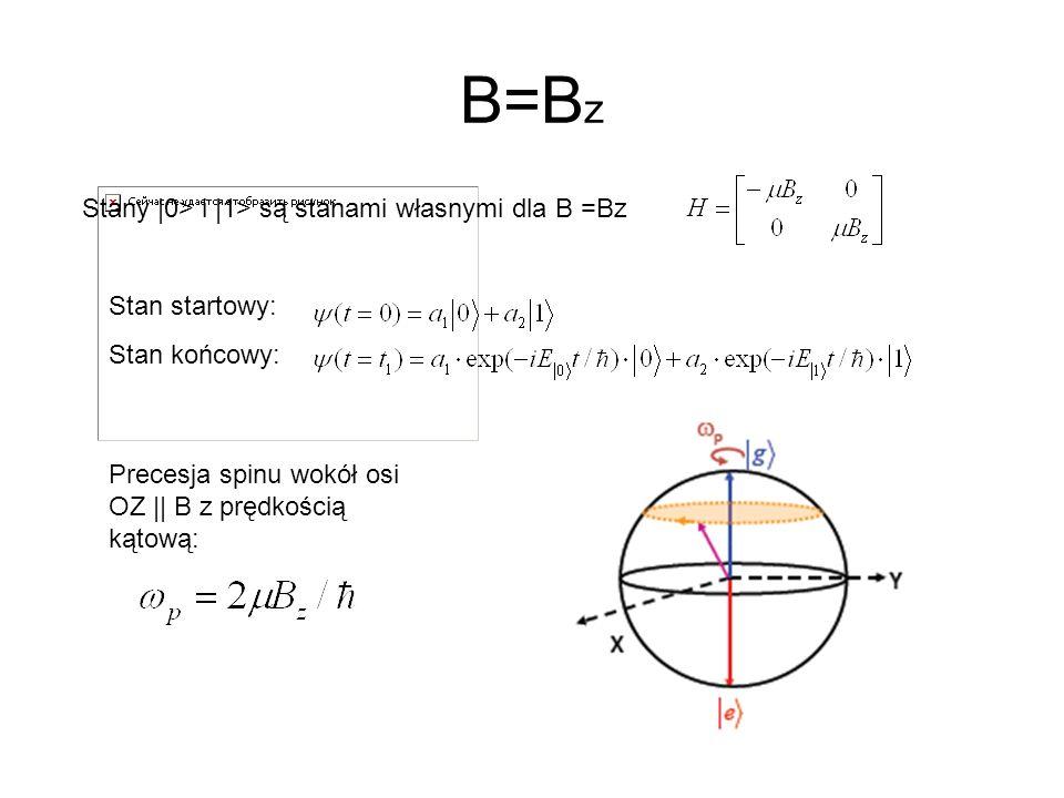 B=Bz Stany |0> i |1> są stanami własnymi dla B =Bz