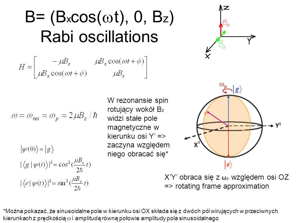 B= (Bxcos(wt), 0, Bz) Rabi oscillations