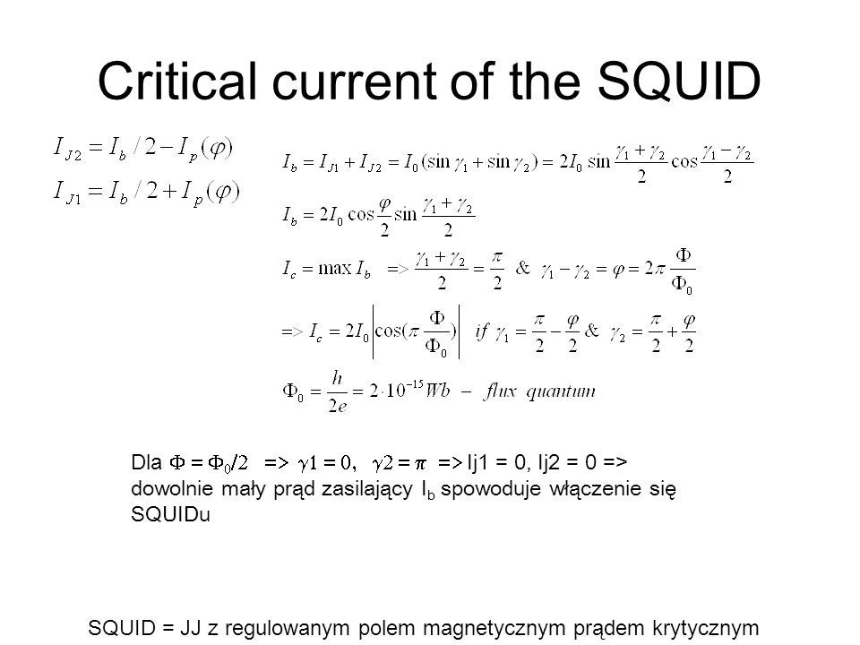 Critical current of the SQUID