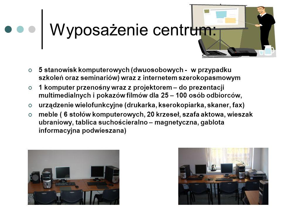 Wyposażenie centrum: 5 stanowisk komputerowych (dwuosobowych - w przypadku szkoleń oraz seminariów) wraz z internetem szerokopasmowym.