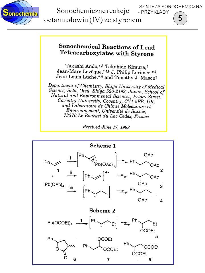 Sonochemiczne reakcje octanu ołowiu (IV) ze styrenem