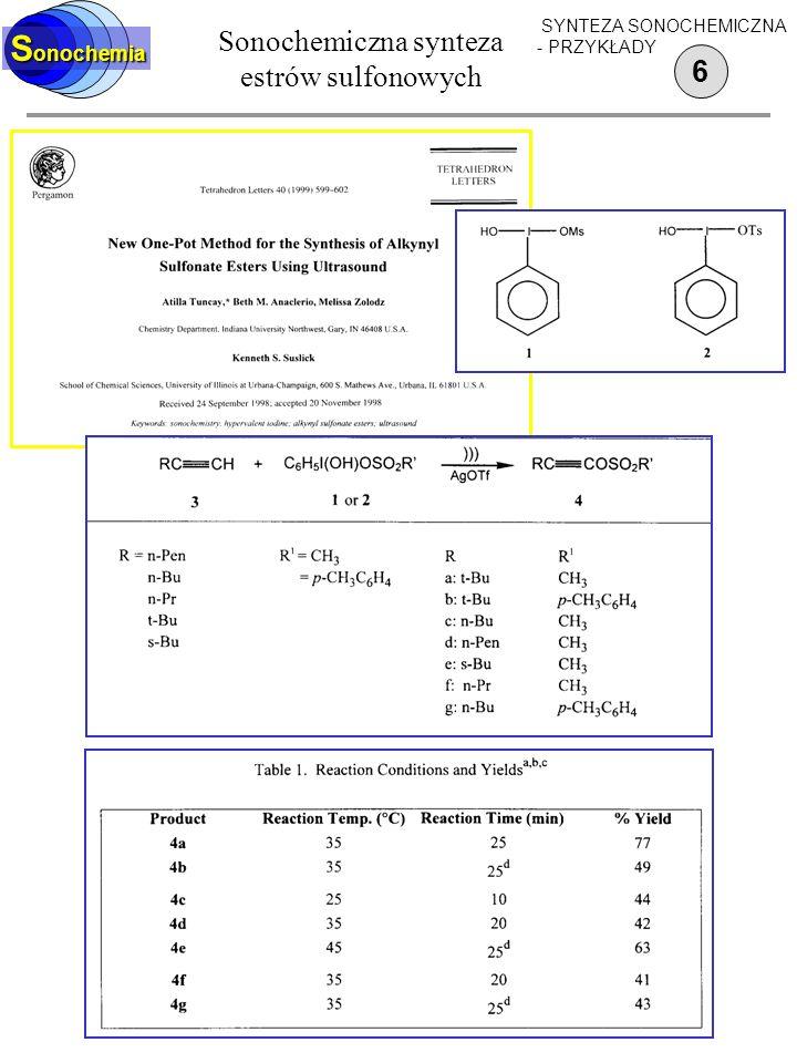Sonochemiczna synteza estrów sulfonowych
