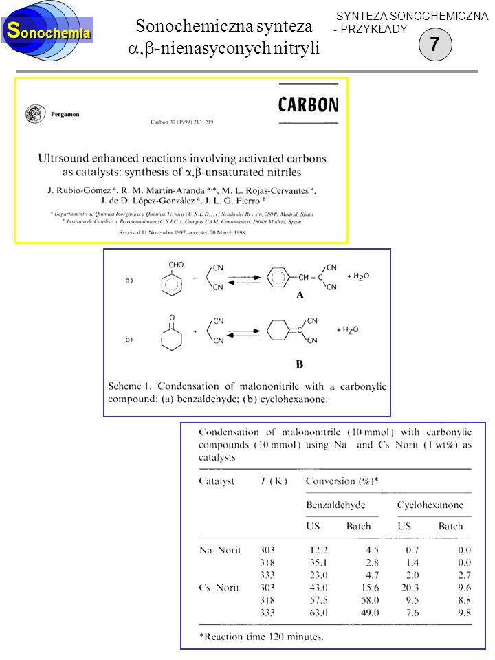 Sonochemiczna synteza ,-nienasyconych nitryli