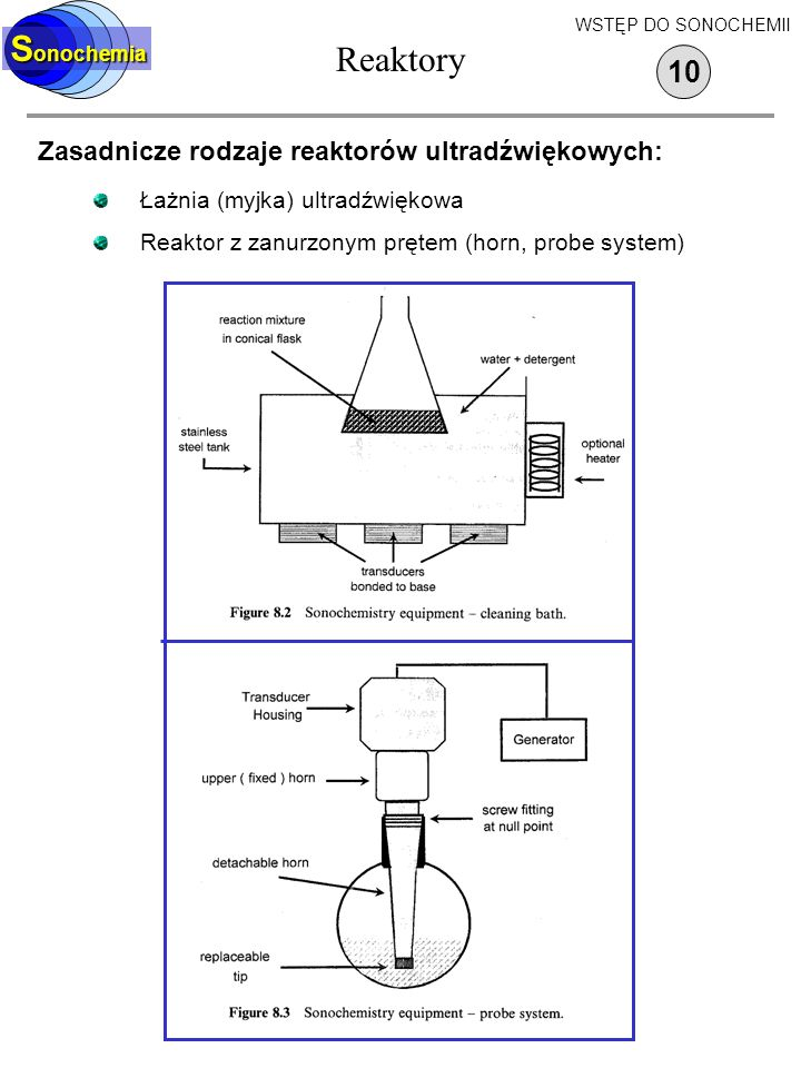 Reaktory Sonochemia 10 Zasadnicze rodzaje reaktorów ultradźwiękowych: