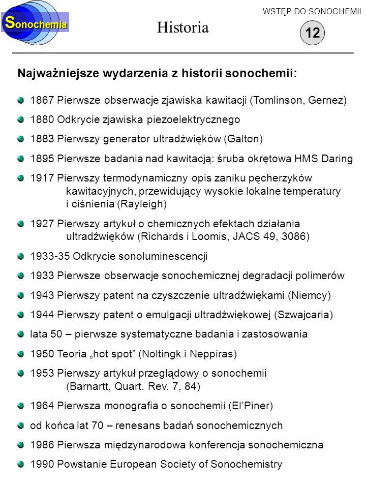 Historia Sonochemia 12 Najważniejsze wydarzenia z historii sonochemii: