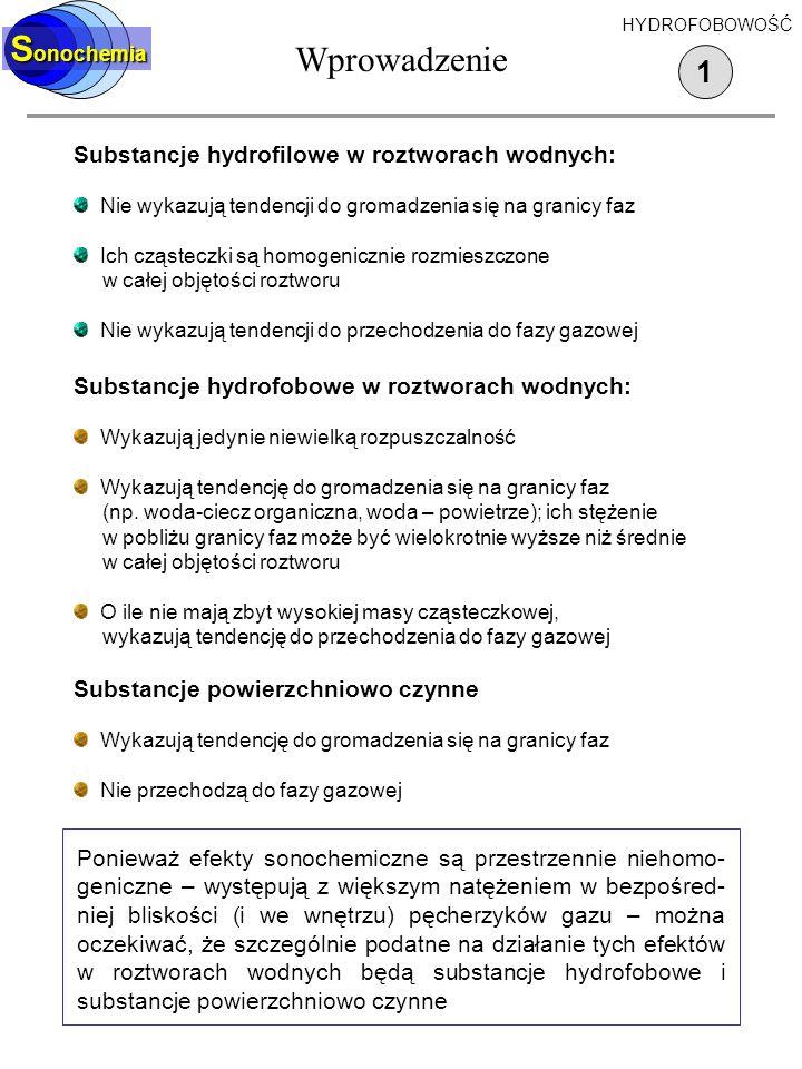Wprowadzenie Sonochemia 1 Substancje hydrofilowe w roztworach wodnych: