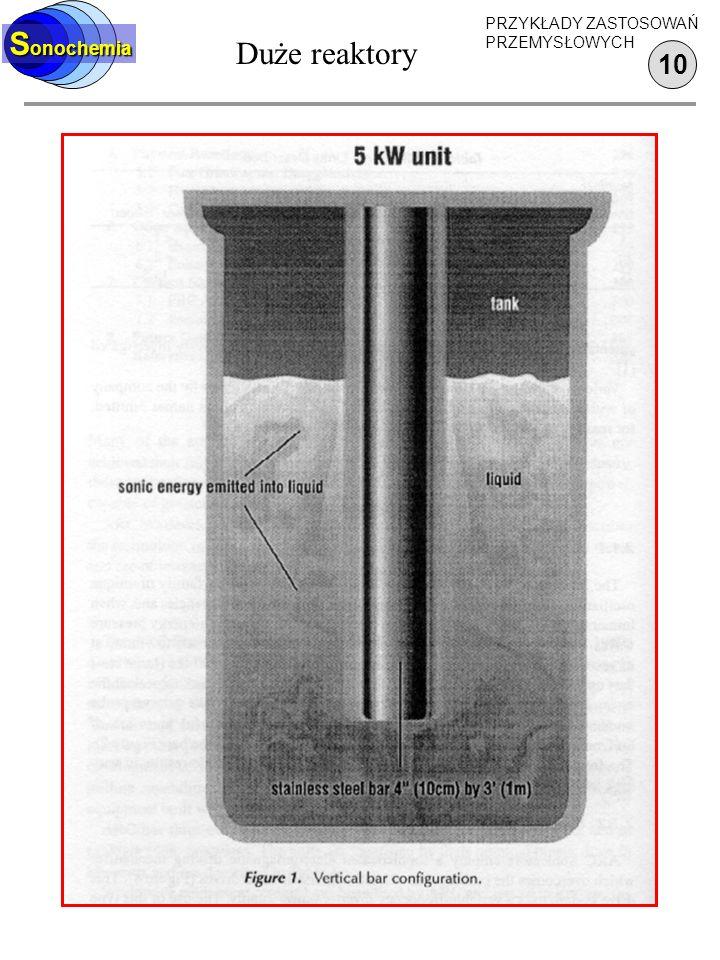 Sonochemia Duże reaktory PRZYKŁADY ZASTOSOWAŃ PRZEMYSŁOWYCH 10