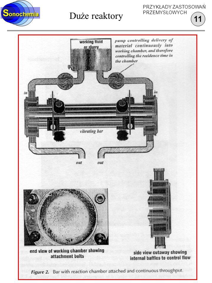 Sonochemia Duże reaktory PRZYKŁADY ZASTOSOWAŃ PRZEMYSŁOWYCH 11