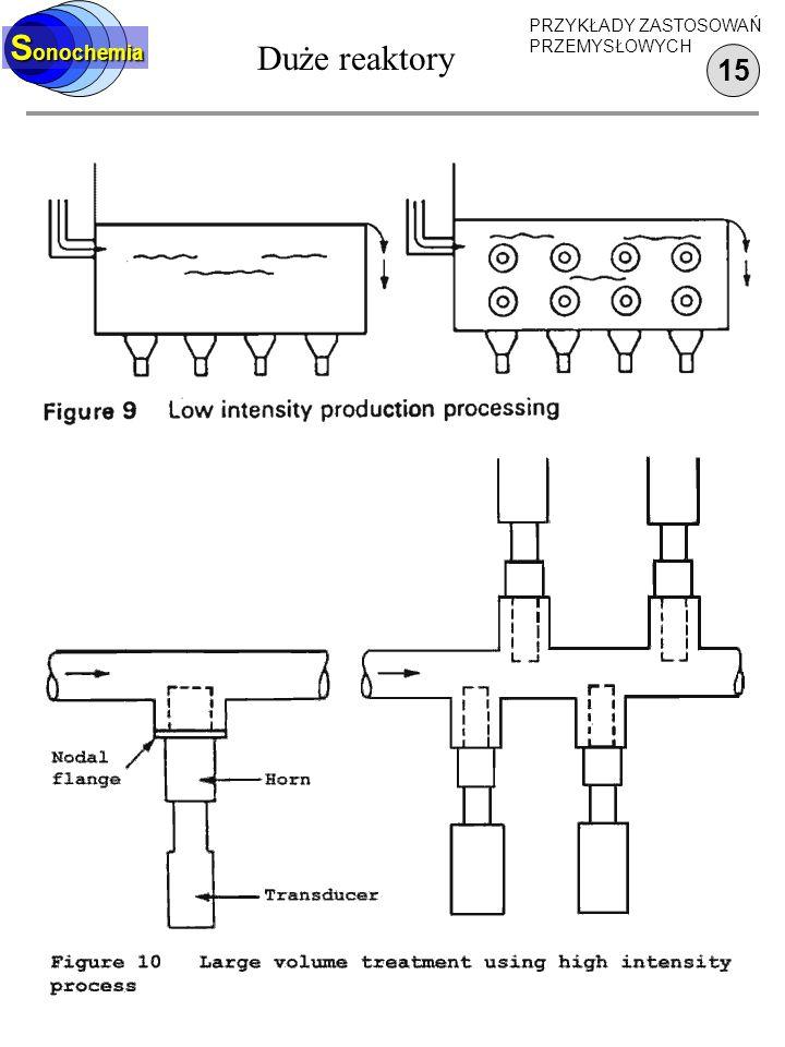 Sonochemia Duże reaktory PRZYKŁADY ZASTOSOWAŃ PRZEMYSŁOWYCH 15