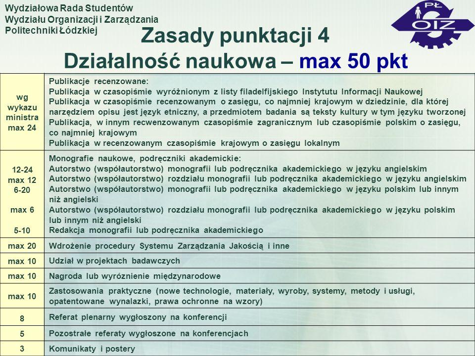 Zasady punktacji 4 Działalność naukowa – max 50 pkt