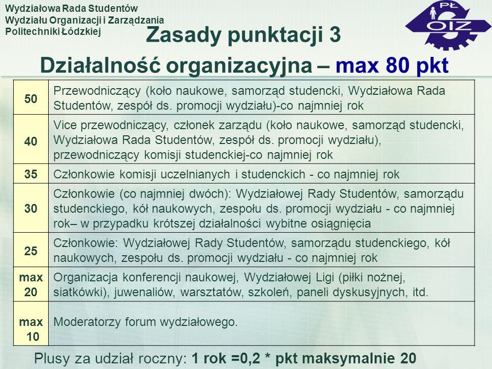 Zasady punktacji 3 Działalność organizacyjna – max 80 pkt