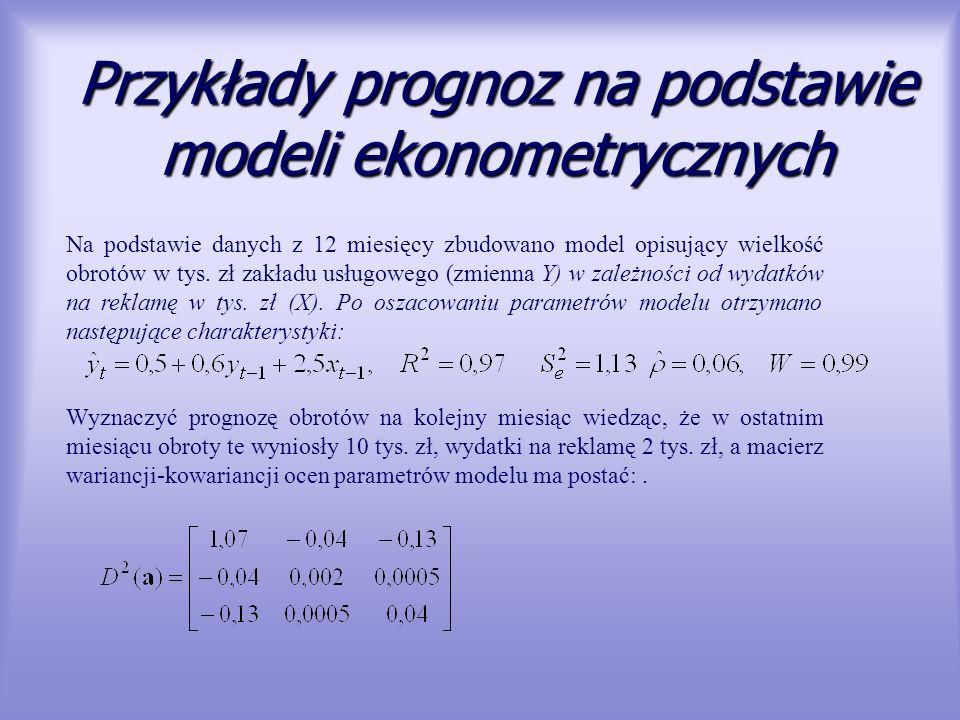 Przykłady prognoz na podstawie modeli ekonometrycznych