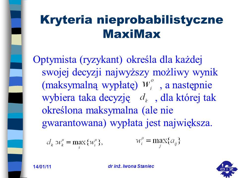 Kryteria nieprobabilistyczne MaxiMax