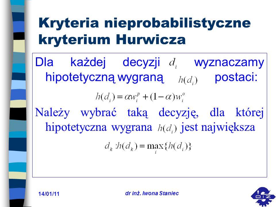 Kryteria nieprobabilistyczne kryterium Hurwicza