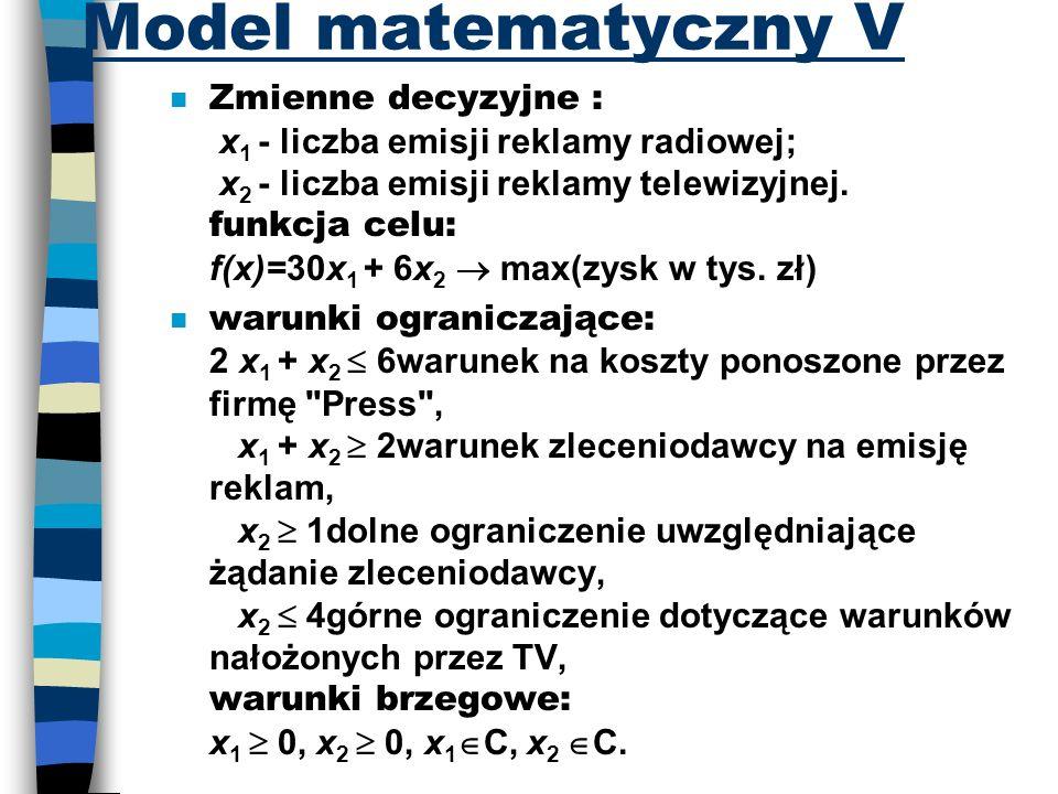 Model matematyczny V