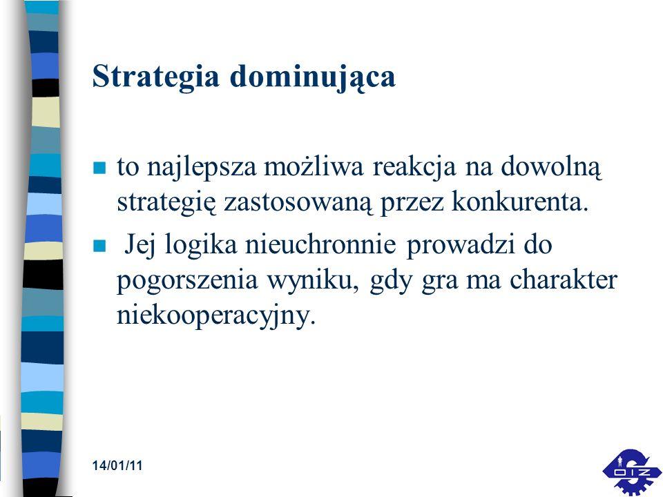 Strategia dominująca to najlepsza możliwa reakcja na dowolną strategię zastosowaną przez konkurenta.