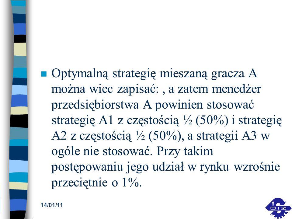 Optymalną strategię mieszaną gracza A można wiec zapisać: , a zatem menedżer przedsiębiorstwa A powinien stosować strategię A1 z częstością ½ (50%) i strategię A2 z częstością ½ (50%), a strategii A3 w ogóle nie stosować. Przy takim postępowaniu jego udział w rynku wzrośnie przeciętnie o 1%.