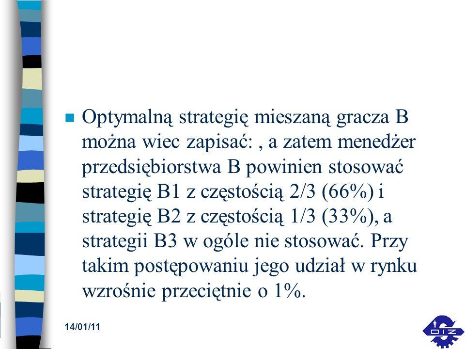 Optymalną strategię mieszaną gracza B można wiec zapisać: , a zatem menedżer przedsiębiorstwa B powinien stosować strategię B1 z częstością 2/3 (66%) i strategię B2 z częstością 1/3 (33%), a strategii B3 w ogóle nie stosować. Przy takim postępowaniu jego udział w rynku wzrośnie przeciętnie o 1%.