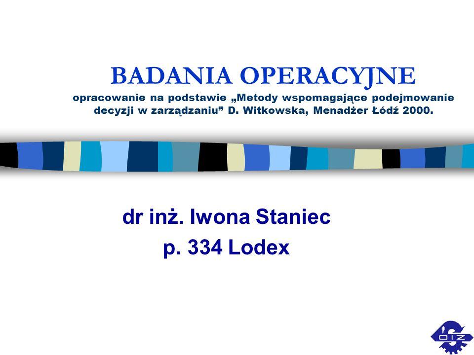 dr inż. Iwona Staniec p. 334 Lodex